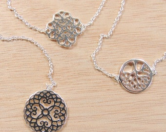 "Silver Plated Link Chain Delicate Dainty Simple Minimalist Mandala Bracelet, Length 7.5"", Choose Your Design (TTB1V)"