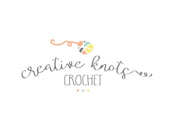 Premade Logo, crochet logo, knitting logo, yarn, colorful,  script font, personalized digital files #12