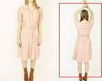 50s 60s day dress blush pink collared midi dress casual embroidered full dress extra small xs small