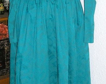 Vintage 80s, Laura Ashley, Great Britain, open back, teal floral, tea length, puff sleeve, dress, US 8 UK 10, MINT