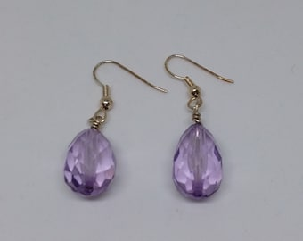 Retro amethyst vintage glass teardrop earrings with gold plated hooks