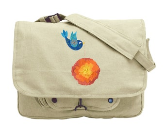 Tweet Marigold Embroidered Canvas Messenger Bag