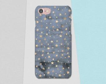 Blue Gold Phone Case, Stars Phone Case, iPhone 6S Case, Blue iPhone 7 Case Plus iPhone SE Case, Galaxy S7 Case S6, Lg G6, iPhone X, iPhone 8
