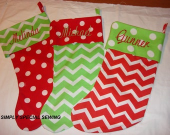 Christmas Embroidered Chevron Stockings