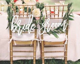 Bride and Groom Chair Signs for Wedding, Sweetheart Table Signs, Hanging Chair Sign, Wooden Wedding Signs, Wedding Photo Prop