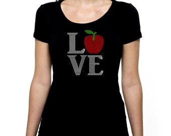 Apple Love RHINESTONE t-shirt tank top  S M L XL 2XL - Teacher, New York City Bling