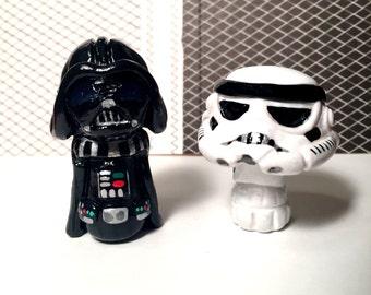 OOAK Star Wars Inspired Darth Vader // Storm Trooper Character Pop Culture 'Shroom Figurines - Handpainted Polymer Clay Sculptures