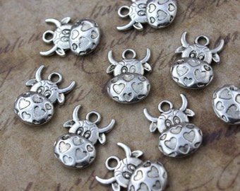 10 Cute Cow Charms Cow Pendants Antiqued Tibetan Silver Tone Double Sided 12 x 17 mm