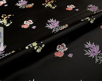 7 colors plum flower orchid bamboo chrysanthemum black blue yellow red rosy tapestry brocade fabric by yard