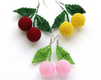 Beaded earrings Cherry earrings handmade Jewelry graduation gift womens gift  Dangle earrings fruit earrings  Statement jewelry