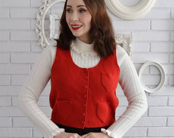Vintage 1970s Red Acrylic Sweater Vest with Pockets Made in Taiwan Size Small or Medium