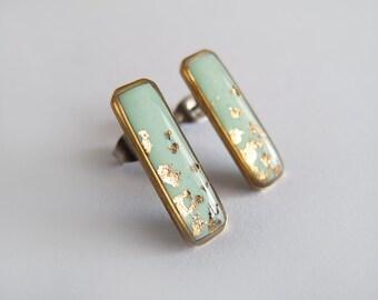 Rectangle Earrings-Mint Gold Earrings-Geometric Earrings - Hypoallergenic Surgical Steel Posts