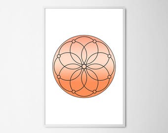 Sacred Geometry Art, Orange Geometric Print, Sacral Chakra Art, Holistic Art, Spiritual Print, Modern Poster, Minimalist Yogi Art, Yoga Gift