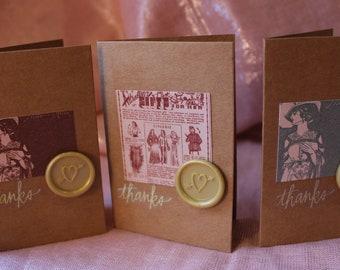 Mini Thank-You Cards- Vintage Women, Set of 3 with Envelopes