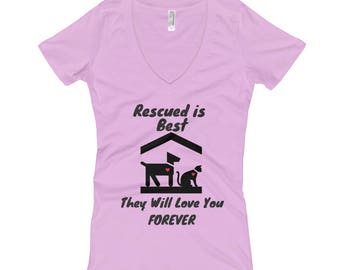 Animal Rescue Women's V-Neck T-shirt to support Rescue Animals, Animal Shelters, Dog Rescue, Cat Rescue, Rescue Moms, Rescue Dads