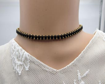 Black Beaded Choker, Trendy Fashion Necklace, Unique Woven Brass Stylish Comtemporary Womens Jewelry,Bold  Layering Choker