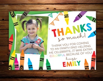 Crayon thank you notes, Birthday thank yous with photo, printable thank you note, flat thank you card