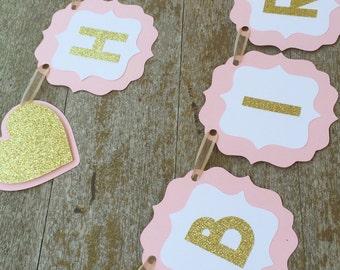 Hearts birthday Banner - Happy Birthday Banner -Birthday Banner heart - shabby chic 1st Birthday- Gold and Pink Banner