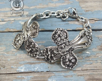 Double Spoon Cross Bracelet - Adjustable - Inspired by Antique Victorian Silverware - Pewter Jewelry Creations By Doctorgus - Ornate Boho