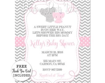 Elephant Baby Shower Invitation, Elephant Invitation, Elephant Baby Shower, Girls Elephant Baby Shower, Elephant Invite