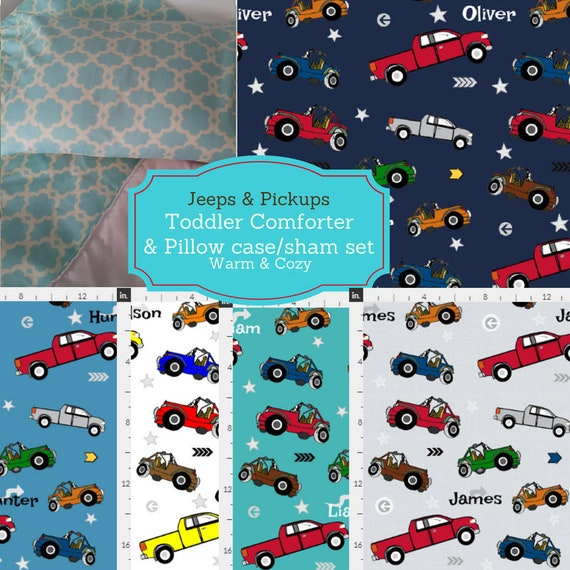 Personalized Toddler Comforter Set - Jeeps & Pickup Trucks Custom Bedding, Pillow Case / Sham, Kids Comforter Throw