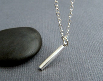 """tiny silver bar necklace petite bar charm sterling small simple modern everyday jewelry. 3D layering minimalist line. geometric pendant 5/8"""""""