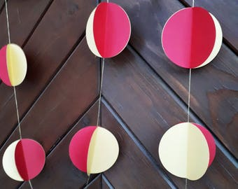 "Red with gold 3"" circle garland, paper garland, Wedding decor, Party decor, Paper string decor"