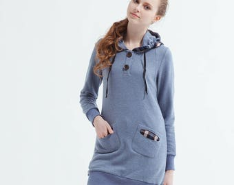 Women's  Long Hooded Dress With Check Hood And Pockets-Blue