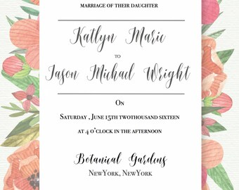 Beautiful 5X7 Red floral Wedding Invitations