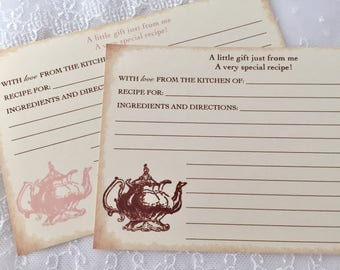 Tea Party Recipe Cards, Teapot Recipe Cards Vintage Style, Set of 10