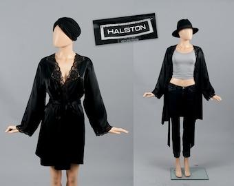 Halston Robe Black Satin Lace Lingerie Nightgown Boudoir Sleepwear Dressing Gown Nightie Bed Jacket Kimono Medium
