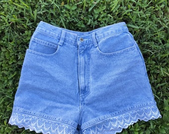 High Waisted Demin Shorts Embroidered Lace Vintage Shorts Tumblr Hipster Brandy Melville LF