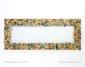 Bubble glass window frame- Jackson Pollock-inspired wall sculpture, green, blue, earth tones, bathroom decor, chandelier