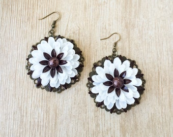 Vintage Celluloid Flower Earrings, Upcycled Enamel Celluloid Earrings, White Brown Statement Earrings