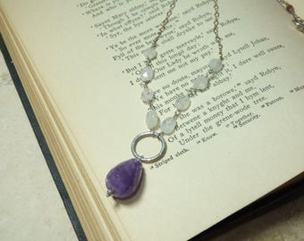 Amethyst and Moonstone Necklace, Purple and White Necklace, Amethyst Nugget, Faceted Moonstone Necklace