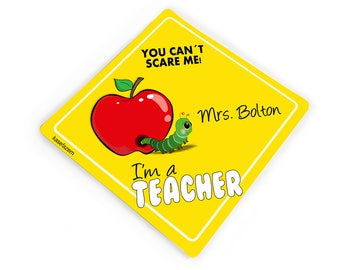 Customized you cant scare me I'm a teacher car bumper sticker with red apple - baby on board style -  CD80S