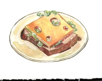 Swiss Cheese Sandwhich Food Art Cookbook Art Gouache Watercolor Illustration Original Art Diner