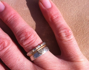 Silver and gold heart stack ring