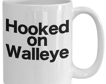 Fishing coffee mug hooked on walleye funny gift for dad grandpa fisherman
