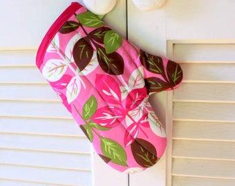 Childs Oven Mitt in Pink Leaves, Kids Heat Resistant Oven Mitt