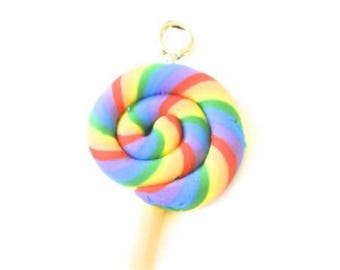 Polymer clay Rainbow lollipop charm