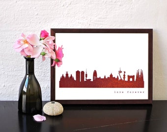 Real Copper Print BARCELONA, Real Rose Gold Wall Art Barcelona, Copper Poster Barcelona, Copper Decor Barcelona skyline, Barcelona gift