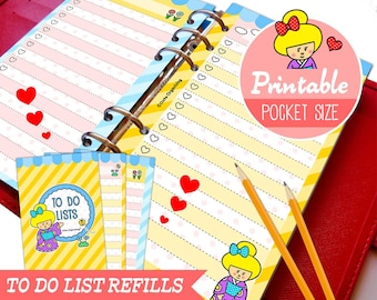 PRINTABLE Pocket Size Cute Kawaii Kokeshi DIY To Do List Refills for Filofax Organizer Planner Instant Download