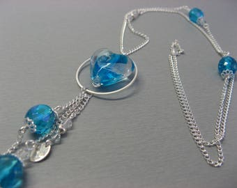 Necklace heart turquoise blue and silver Crystal Swarovski, glass handmade and plated silver