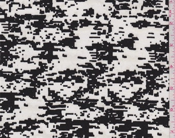 White/Black Pixelated Stretch Twill, Fabric By The Yard