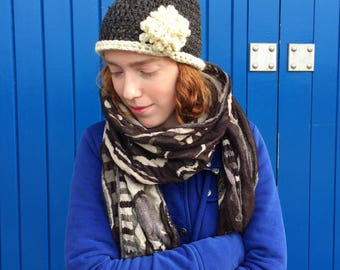 Irish Brown Wool - Crochet 'Sara' Beanie Hat