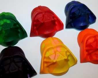 Set of 6 Colorful Darth Vader Crayons