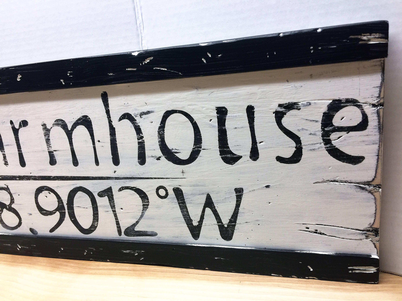 Personalized Latitude Longitude Farmhouse Sign farmhouse decor ...
