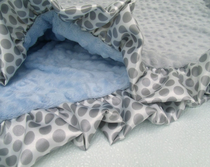 Blue and Gray Minky Baby Blanket with Gray Polka Dot Ruffle