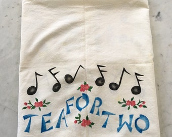 Vintage 1940s 1950s Cotton Fabric Tablecloth Tea For Two Hand Made